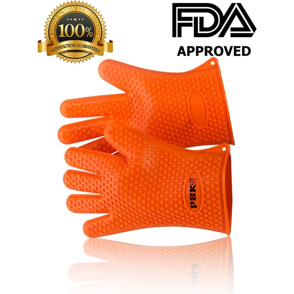 Heat Resistant Silicone Cooking BBQ Gloves, Heavy Duty