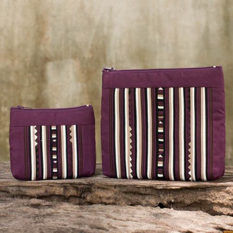Handmade Set of 2 Cotton Blend 'Exotic Lisu in Wine' Cosmetic Bags (Thailand)