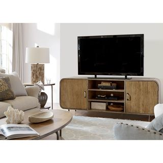 Moderne Muse Waterfall Media Console in Bisque Finish