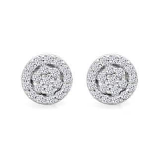 Elora 10k Gold 1/4ct TDW White Diamond Circle Cluster Stud Earrings (I-J, I2-I3)