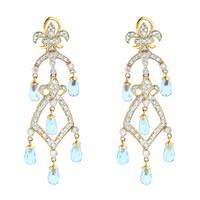 Luxurman 14k Gold 1/2ct TDW Diamond and Blue Topaz Earrings (H-I, SI1-SI2)