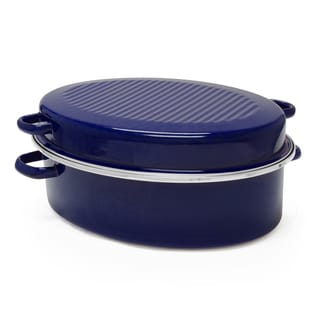 Chantal Enamel-On-Steel 11-Quart Roaster/Broiler in Cobalt Blue