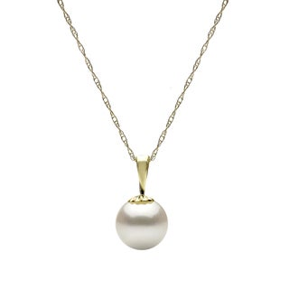 DaVonna 14k Yellow Gold White 8-9 mm Round Freshwater High Luster Pearl Pendant Necklace with Gift Box, 18""