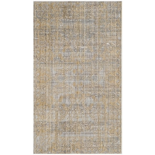 Safavieh Valencia Grey/ Gold Distressed Silky Polyester Rug (3' x 5')