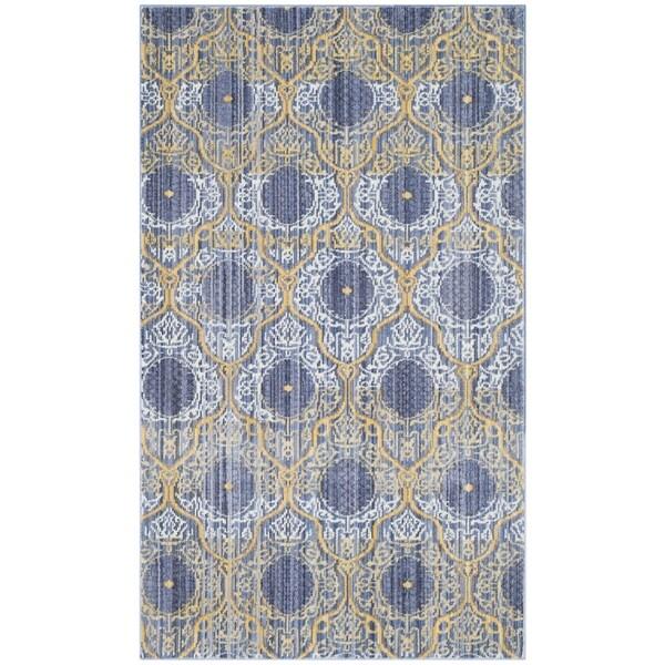 Safavieh Valencia Lavender/ Gold Distressed Silky Polyester Rug - 3' x 5'