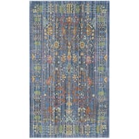 Safavieh Valencia Blue/ Multi Distressed Silky Polyester Rug - 3' x 5'