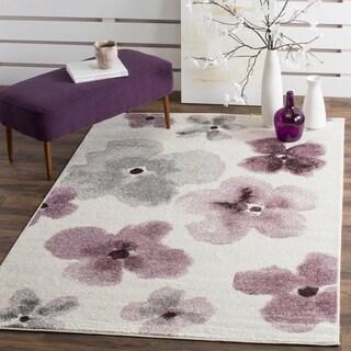 Safavieh Adirondack Floral Watercolor Ivory / Purple Rug (5'1 x 7'6)