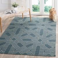 Safavieh Hand-Woven Kilim Blue/ Light Blue Wool Rug - 5' x 8'