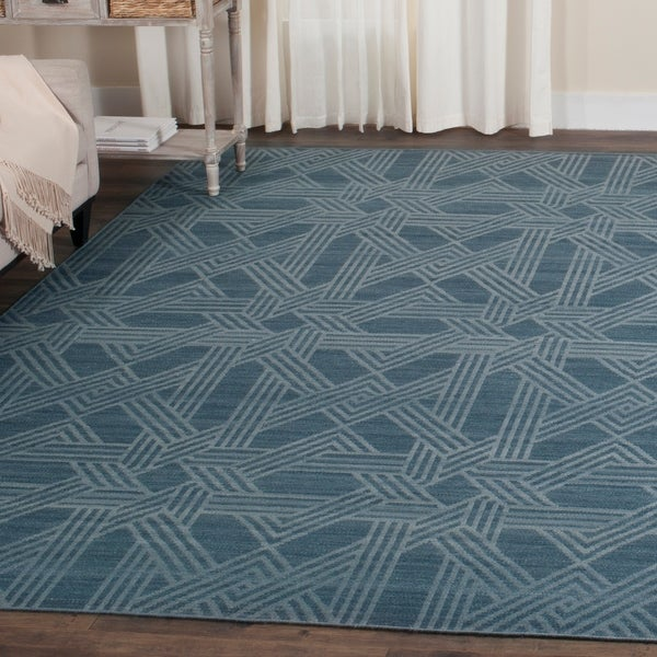 Safavieh Hand-Woven Kilim Blue/ Light Blue Wool Rug - 8' x 10'