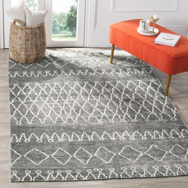 Safavieh Hand-knotted Stone Wash Grey/ Beige Wool Rug (8' x 10')