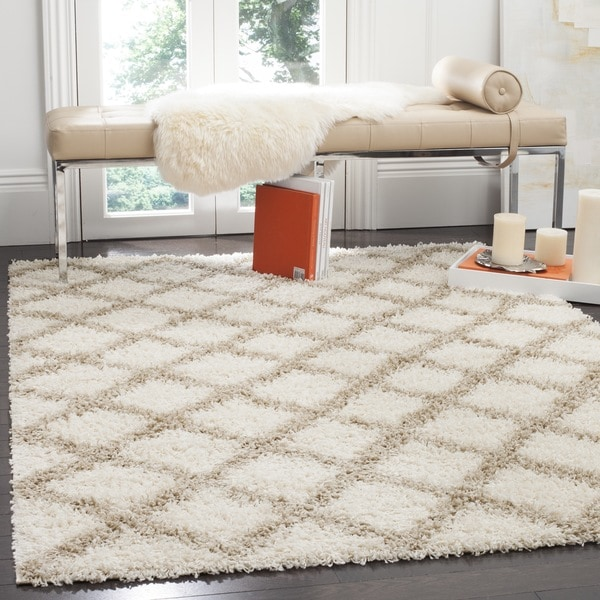 Safavieh Dallas Shag Ivory/ Beige Trellis Large Area - 10' x 14'