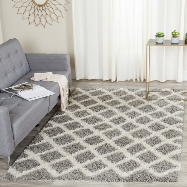 Safavieh Dallas Shag Grey/ Ivory Trellis Large Area Rug (10' x 14')