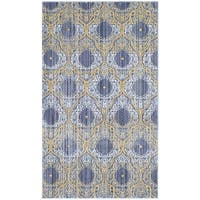 Safavieh Valencia Lavender/ Gold Distressed Silky Polyester Rug - 2' x 3'