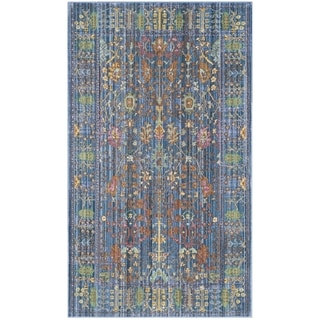 Safavieh Valencia Blue/ Multi Distressed Silky Polyester Rug (2' x 3')