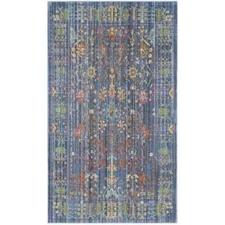 Safavieh Valencia Blue/ Multi Distressed Silky Polyester Rug - 2' X 3'