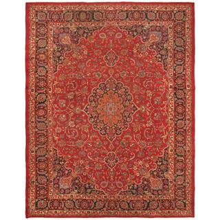 ecarpetgallery Hand-Knotted Persian Mashad Blue, Red Wool Rug (9'9 x 12'7)