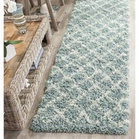 Safavieh Dallas Shag Light Blue/ Ivory Trellis Runner