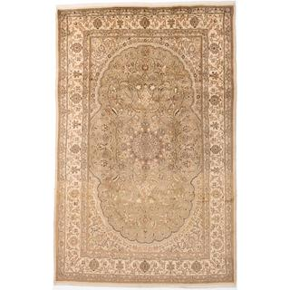 ecarpetgallery Hand-Knotted Persian Kashmar Beige, Green Wool Rug (6'6 x 9'8)