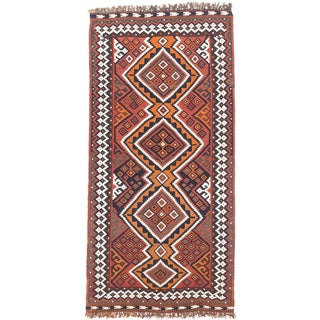ecarpetgallery Hand-made Kashkuli Orange Wool Kilim (4'1 x 8'7)
