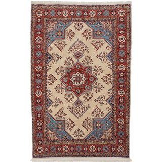 ecarpetgallery Hand-Knotted Persian Sarough Beige Wool Rug (4'7 x 7'1)