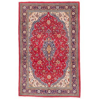 ecarpetgallery Hand-Knotted Persian Sarough Red Wool Rug (4'5 x 6'11)