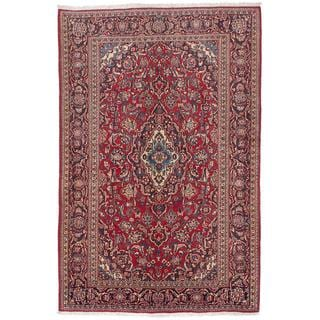 ecarpetgallery Hand-Knotted Persian Kashan Red Wool Rug (4'5 x 6'9)