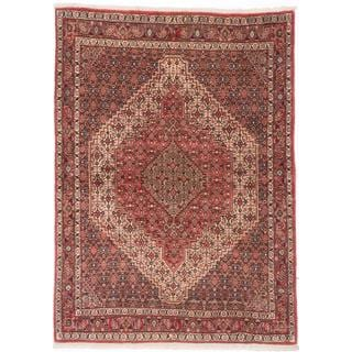 ecarpetgallery Hand-Knotted Persian Senneh Red Wool Rug (4'0 x 5'7)