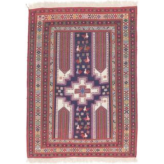 ecarpetgallery Hand-made Kashkuli Blue, Red Wool Sumak (4'2 x 5'9)