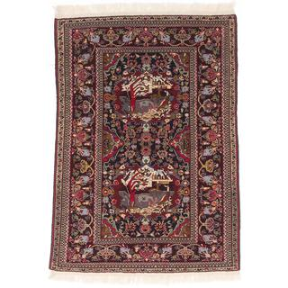 ecarpetgallery Hand-Knotted Persian Guchan Blue, Brown Wool Rug (4'0 x 5'8)