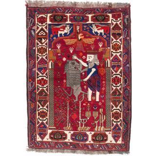 ecarpetgallery Hand-Knotted Persian Shiraz Qashqai Red Wool Rug (3'11 x 5'5)