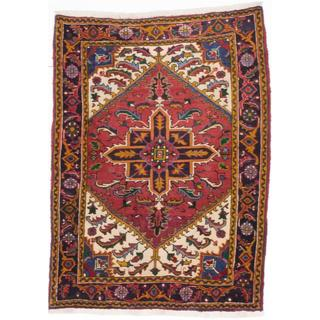 ecarpetgallery Hand-Knotted Persian Heriz Red Wool Rug (3'8 x 4'11)