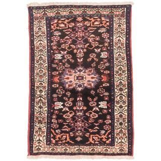 ecarpetgallery Hand-Knotted Persian Hosseinabad Blue Wool Rug (3'2 x 4'6)
