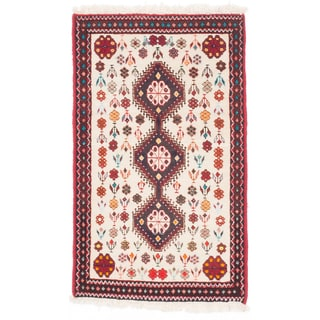 ecarpetgallery Hand-Knotted Persian Abadeh Beige Wool Rug (2'0 x 3'3)