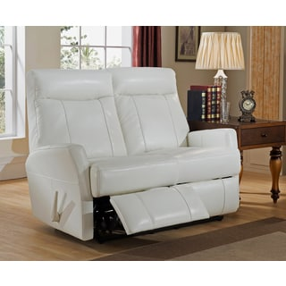 Toledo White Top Grain Leather Lay-Flat Reclining Loveseat with Memory Foam Seating