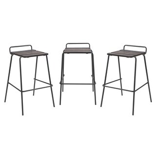 Industrial Stackable Walnut Wood Blake Bar Stools (Set of 3)