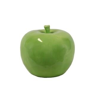 Large Yellow Green Gloss Ceramic Apple Figurine
