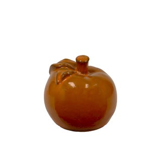 Small Gloss Red Orange Ceramic Apple Figurine