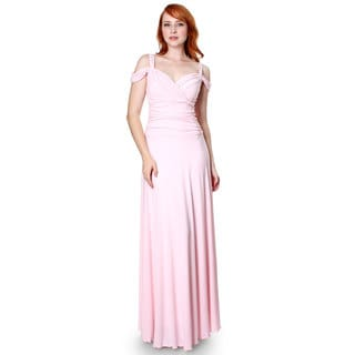Evanese Women's Slip On Elegant Formal Long Dress Full-Length Ball Gown Medium Size in Pink (As Is Item)