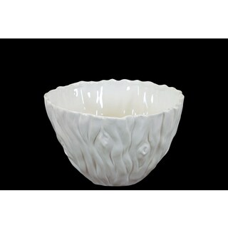 Gloss White Ceramic Bowl with Tree Trunk Design