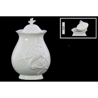Large Gloss White Ceramic Canister with Lid and Seahorse and Starfish Relief