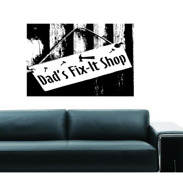 shop dad's fix-it shop wall art sticker decal - free shipping on