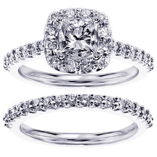 14k or 18k White Gold 1 2/3ct TDW Halo Princess-cut Diamond Engagement Bridal Set