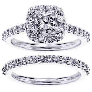 14k or 18k White Gold 1 2/3ct TDW Halo Princess-cut Diamond Engagement Bridal Set