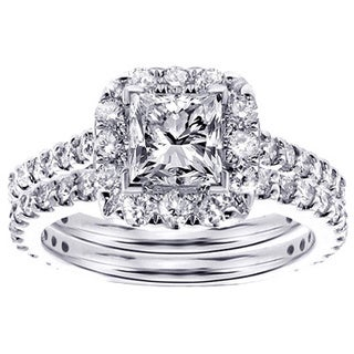 Platinum 2 1/3ct TDW Halo Princess-cut Diamond Engagement Bridal Set