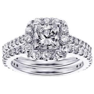 14k or 18k White Gold 2 1/3ct TDW Halo Princess-cut Diamond Engagement Bridal Set