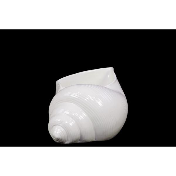Small Ribbed Gloss Finish White Ceramic Conch Seashell Figurine