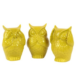 Ceramic Owl No Evil (See/Hear/Speak) Figurine Assortment of Three Gloss Finish Amber