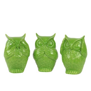 Ceramic Owl No Evil (See/Hear/Speak) Figurine Assortment of Three Gloss Finish Lime Green
