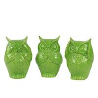 Ceramic Owl No Evil (See/Hear/Speak) Figurine Assortment of Three Gloss Finish Lime Green