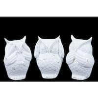 Ceramic Owl No Evil (See/Hear/Speak) Figurine Assortment of Three Gloss Finish White